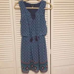 Blue and green patterned dress. Sz sm.